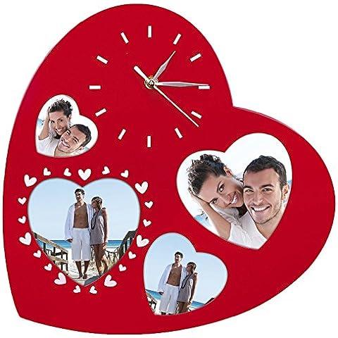 Zep Serena a forma di cuore multi-apertura Telaio e Orologio da parete, rosso