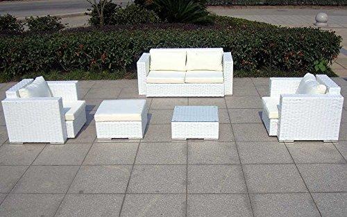 Baidani Gartenmöbel-Sets 10c00042.00002 Designer Rattan Lounge-Garnitur Calypso, 1 2-er-Sofa, 2 Sessel, 1 Hocker, 1 Couch-Tisch mit Glasplatte, braun - 8