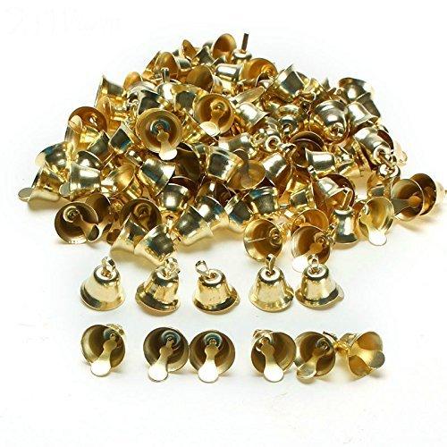 Gold Glockenspiel (Yalulu Metall-Glöckchen, Goldfarben/ Silber, klein, 16 mm, Trompetenglocken für Weihnachtsbäume, Dekorationen, Handgefertigten Schmuck, Anhänger, Windspiele, Zubehör, 100 Stück, gold, 16 mm)