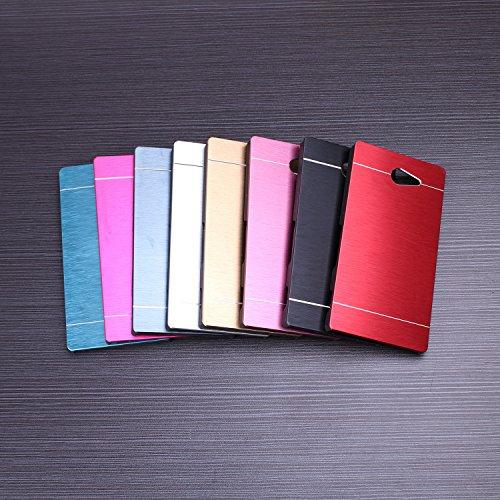 Huawei P8 h¨¹lle, Wkae® Luxus aus geb¨¹rstetem Stahl Metall Zur¨¹ck harte Fallplastikabdeckung f¨¹r Huawei P8 by Diebell(Red) blau