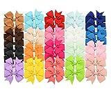 40 Stücke Baby Mädchen Haarspangen Weiche Ripsband Bögen Alligator Haarspangen für Jugendliche Kinder Kleinkind 20 Farben