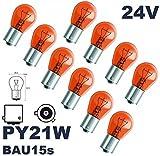 24 VOLT - 10 Stück - PY 21W - BAU15S - 21W - Gelb - 24V (versetzte Pins) Nfz LKW Beleuchtung - LONGLIFE - Glühlampe, Glassockellampe, Glühbirne, Soffitte, Lampen. Mit E-Prüfzeichen und ist für den Straßenverkehr zugelassen. INION®