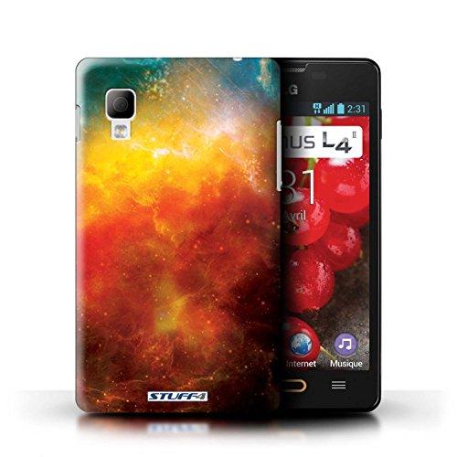 Kobalt® Imprimé Etui / Coque pour LG Optimus L4 II/E440 / Planète Verte conception / Série Cosmos Nébuleuse Orange