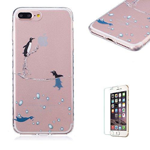 Für iPhone 7 Plus 5.5 Zoll [Scratch-Resistant] Weichem Handytasche Weich Flexibel Silikon Hülle,Für iPhone 7 Plus 5.5 Zoll TPU Hülle Back Cover Schutzhülle Silikon Crystal Kirstall Durchschauen Clear  Niedlicher Pinguin