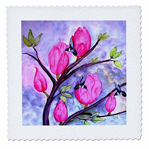 3D Rose Pink Blumen Kolibris Quilt Platz 12von 30,5cm, 12x 12