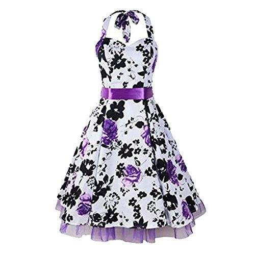LUOUSE 'Rhya' Vintage Serenity Kleid im 50er-Jahre-Stil,Purple,S (60er Vintage-kleidung Jahre)