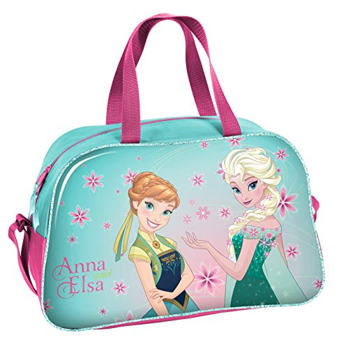 Ragusa-Trade Disney Frozen - Die Eiskönigin Anna und ELSA (DRL), Sporttasche Reisetasche für Mädchen, blau/rosa, 40 x 25 x 13 cm