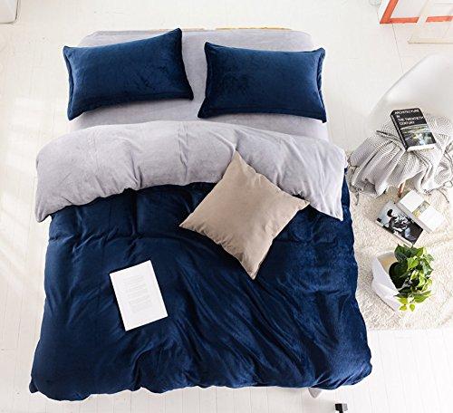 WXTZ Dick warme Vier sätze von Winter-Bett doppel vlies kit-L Durchmesser180cm(71inch) (Doppel-bett-satz)