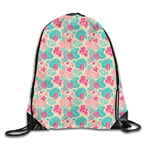 PPOOia Drawstring Backpacks Bags Daypacks,Retro Vibrant Beauty Branches Swirls Honeysuckle Blooms Ornament Design,5 Liter Capacity Adjustable for Sport Gym Traveling -