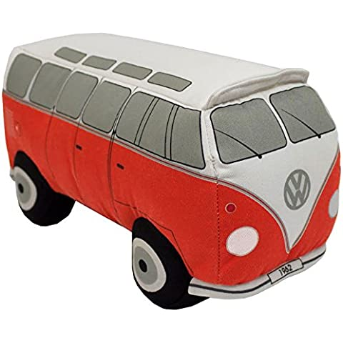 Vintage & Retro VW 3d forma de furgoneta–Cojín relleno (35x 14cm, poliéster, Rojo, 35x15 cm