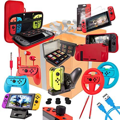 ORZLY Kit Accessori per Nintendo Switch Geek Pack con Switch Custodia e Pellicola Protettiva Joy con impugnature & Volanti Supporto Ricarica di