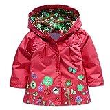 Tres Chic Mailanda Kinder Maedchen Regenjacke Regenmantel mit Kapuze Rot Groesse 110 3-4 Jahre