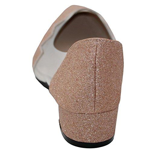 Zehe Pailletten Absatz Niedriger Schuhe Golden Spitz Pumps Damen Rein Aalardom q47AfvRf