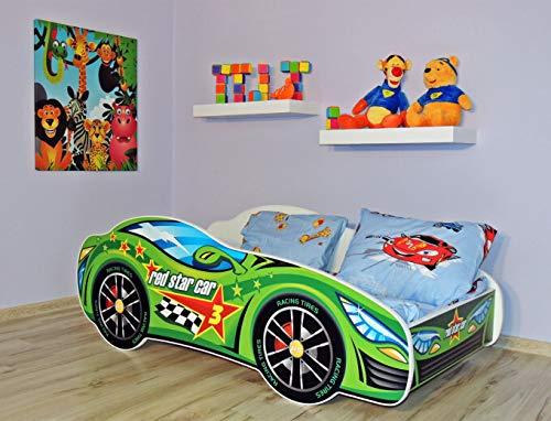 Alcube | Kinderbett Auto-Bett Formel Star | 160 x 80 cm | mit Rausfallschutz, Lattenrost und Matratze | MDF beschichtet