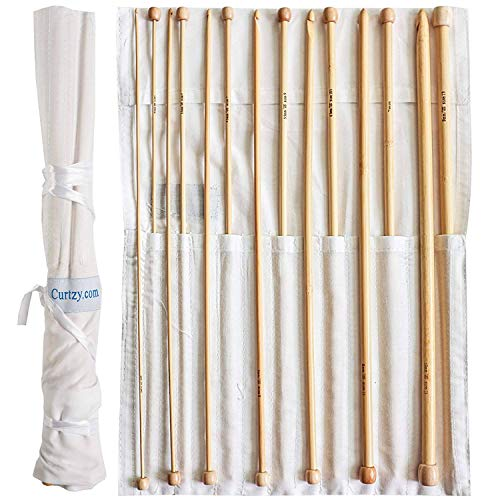 Set 14 Agujas Ganchillo Bambú Afgano por Curtzy - Kit Agujas de Madera de 34cm con Bolsa Gratis - Ideal para Ganchillo, Encaje, Blondas y Proyectos Florales - Set para Principiantes y Profesionales