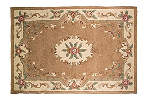 Traditional Original Classic Aubusson Floral 100% Wool Hand Tufted Chinese Rug, Fawn -120 x 180cm