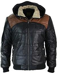 Blouson homme cuir véritable marron et noir avec capuche fourrée style  doudoune 34a629fc1c0