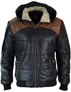 Chaqueta Bomber de hombre de cuero real con capucha con pelo negro marron acolchada