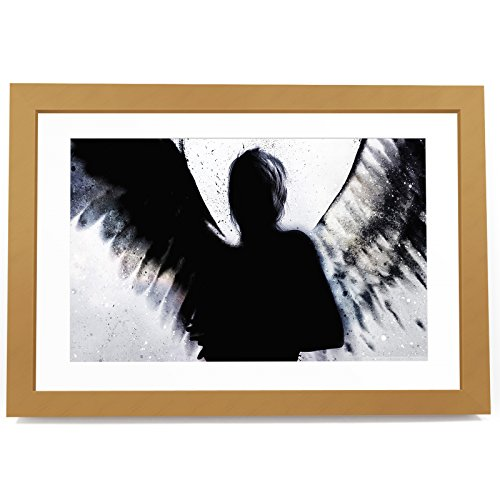 BF3AB219P Framed Picture Print Wall Art - Grey Angel Cool Cool Colourful Black White Modern Frame Abstract Landscape Living Room Bedroom Bathroom Kitchen Home Decor Easy Hang Guide (Size Here)