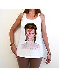 David Bowie eccentric T-Shirt Femme photo de star,Blanc, t shirt femme,cadeau