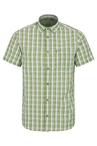 Mountain Warehouse Holiday Herren-Kurzarm Baumwollhemd - Pflegeleichtes Sommerhemd, Leichtes Freizeithemd, Oberteil mit Netzfutter - Ideal für Reisen, Camping und Wandern Grün XX-Large