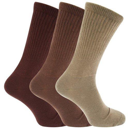 calcetines para diabéticos ajuste confort extra anchos (3 pares), Assorted Brown, 39-45 EU