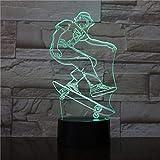 Illusion optique Night Lights 3D Touch Led Table Lampe de bureau 7 Couleur Changeante...