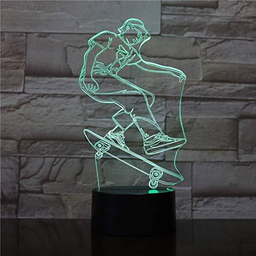 luanxiaonie Optische Täuschung Nachtlicht 3D Touch Led Tisch Schreibtischlampe 7 Farbwechsel USB Ladegerät Powered Touch Switch Für Mädchen Weihnachten Halloween Geburtstagsgeschenk , Roller Fahrer