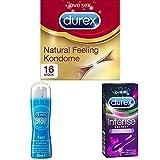 Durex Natural Feeling Kondome, natürliches Haut an Haut Gefühl, latexfrei, 16er Pack (1 x 16 Stück) + Play Feel Gleitgel, 1er Pack + Intense Delight, Minivibrator für sinnliche Stimulation, 1 Stück