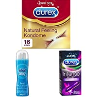 Preisvergleich für Durex Natural Feeling Kondome, natürliches Haut an Haut Gefühl, latexfrei, 16er Pack (1 x 16 Stück) + Play Feel...