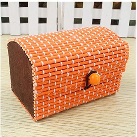 Kicode Novelty Square-shaped Bamboo Curtain Style Sundries Box For Jewelry And Decoration(Orange)