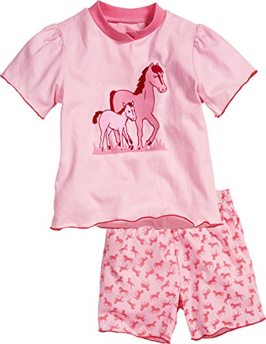 Playshoes Mädchen Shorty Single-Jersey Pferde Zweiteiliger Schlafanzug, Rosa (Original 900), 92