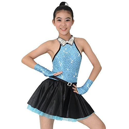 MiDee V-Kragen Paillettenbesetzte Tank Top Lyrischen Kleid Tanzen Kostüm (LA, Blau) (Lyrische Tanz Kostüme Blau)