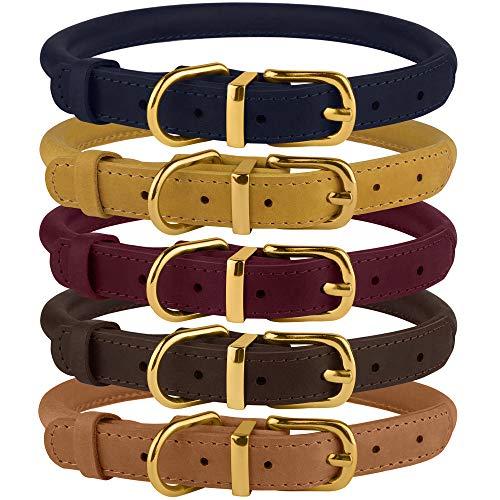 BronzeDog Hundehalsband, gerolltes Leder, langlebig, rund, für kleine und mittelgroße Hunde, Welpen, Katzen, Burgunderrot, Senfblau, Hellbraun, Neck Size 16