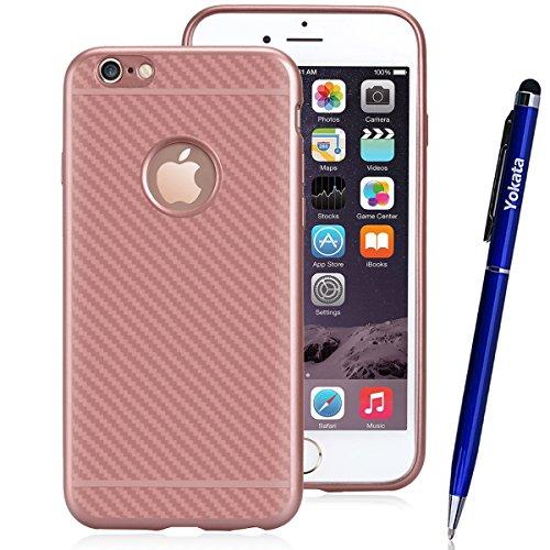 iPhone 6 / iPhone 6s Hülle, Yokata Silikon Weich Bumper und Anti-Scratch Löschen Jelly Case Ultra Slim Cover Schutzhülle Sehr Dünn Handyhülle + 1 x Kapazitive Feder - Rose Gold Rose Gold