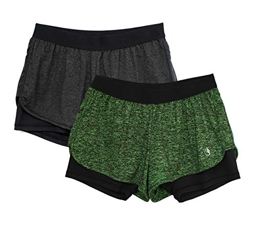 icyzone Damen 2 in 1 Sport Shorts Training Yoga Kurze Hose Laufshorts 2er Pack (Black Heather/Green Heather, M) (Green-yoga-hosen)