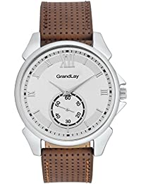 GRANDLAY MG-3071 SILVER DIAL WITH BROWN STRAP STYLISH WATCH FOR MENZ