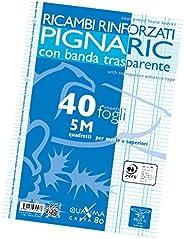 Pigna 02194595M, Ricambio con Banda Rinforzata, Rigatura 5M, quadretti 5 mm per medie e superiori, Carta 80g/m