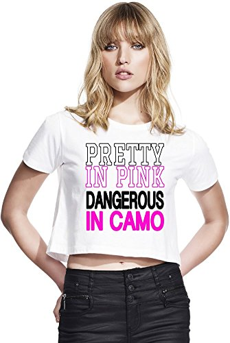 Pretty In Pink Dangerous In Camo Slogan Womens Continental Cropped Jersey Large