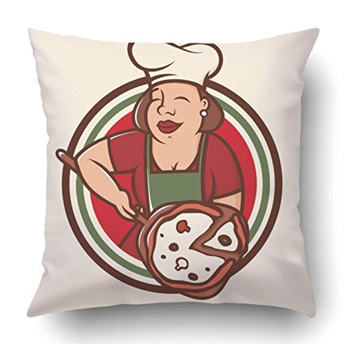 Chef Baker Square (Yuerb Throw Pillow Covers Red Big Modern Professional Emblem Mama Cook White Apron Baker Cartoon Chef 18 x 18 Inch Square with Hidden Zipper Polyester Home Sofa Cushion Decorative Pillowcase)