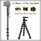 "Durable 13"" Flexible Tripod + Versatile 72"" Monopod Bundle For Epson R-D1x - Portable Tripod"