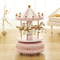 brandy jackson q Romantic Carousel Musical Box Classical Octave Musical Box Gift(Pink)