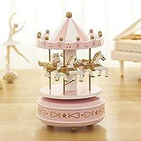 brandyjacksonq Romantic Carousel Musical Box Classical Octave Musical Box Gift(Pink)