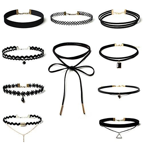 Topways® 10 Stück Choker Halsketten Set,Schwarz Classic Velvet Stretch Gothic Tattoo Spitze Choker Für Frauen Mädchen Party Kleid - La La Velvet Kostüm