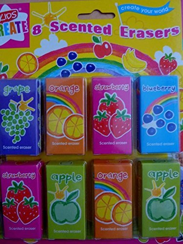 Erasers fun fruit scented animal transport bugs dice glitter funky