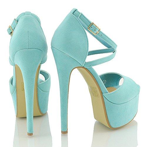 ESSEX GLAM Sandalo Donna Peep Toe con Lacci Plateau Tacco a Spillo Alto Turchese Finto Scamosciato