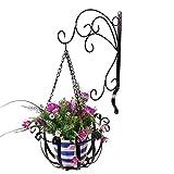 hifuture Schmiedeeisen Wandhalterung Blume Ständer Set Outdoor Garten Balkon Wall Pflanzenständer Indoor zum Aufhängen wandhängende Topf Rack Schwarz