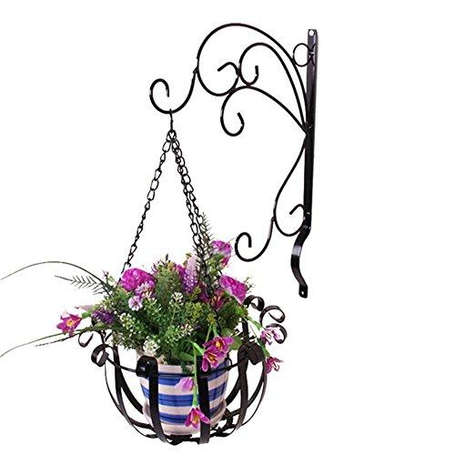 Funihut Blumenampel Halterung Bracket + Basket Eisen Wandbehang Blumen Regal Set, Pflanze Hanger Blumentopf Hängend Dekoration Garten