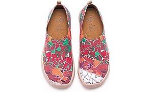 UIN Buntglasfenster Damen Canvas Loafer Schuhe Rot