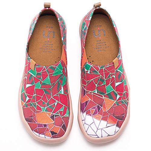UIN Desigual Art Zapatos Casual Rojo Comodas el Naturalista Imprimio Mujer, Lona,Vestir,Plano,Mocasines...